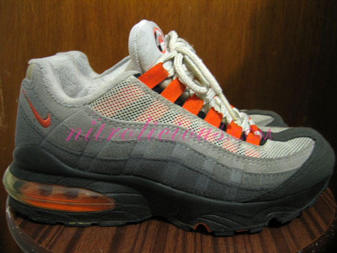 orange and white air max 95