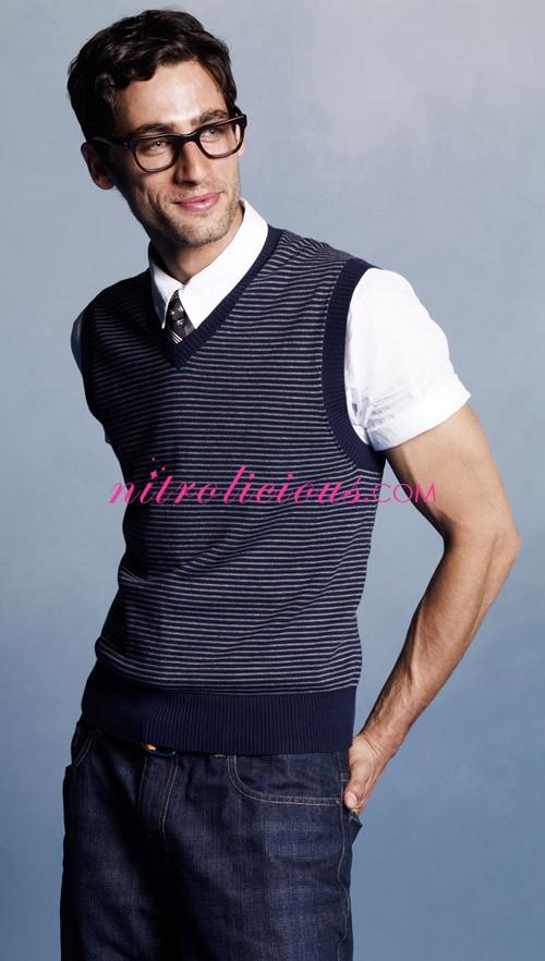 Sweater Vest Short Sleeve Shirt - Gray Cardigan Sweater