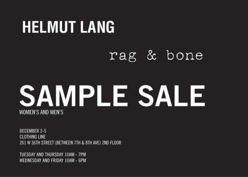 Helmut Lang / Rag & Bone Sample Sale - nitrolicious.com