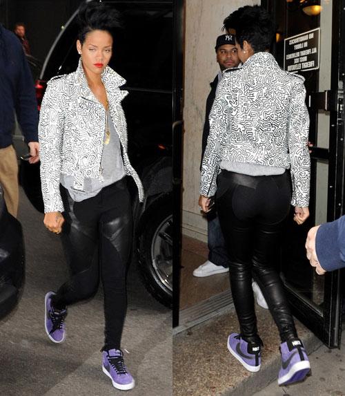 Rihanna Rockin' Nike SB Blazer + Schott x Jeremy Scott Leather Jacket