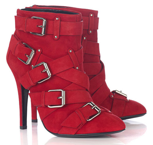 Balmain Red Suede Buckled Ankle Boots