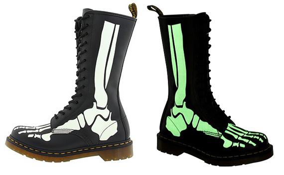 Dr. Martens Skelly Foot Glow-In-The-Dark 14 Eye Zip Boot