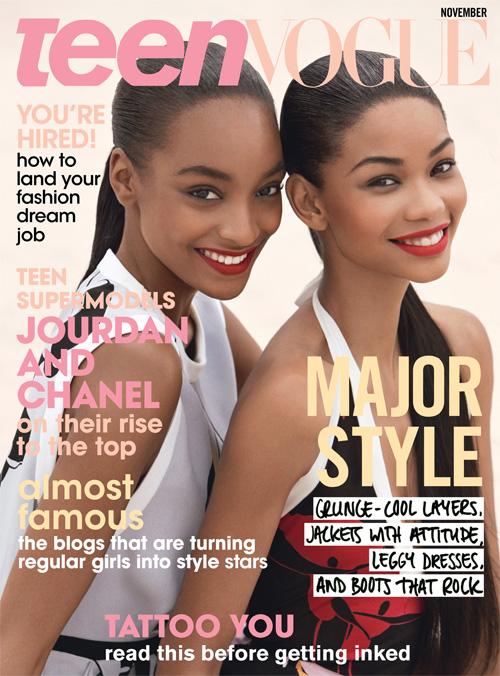 Chanel Iman & Jourdan Dunn Covers Teen Vogue November 2009