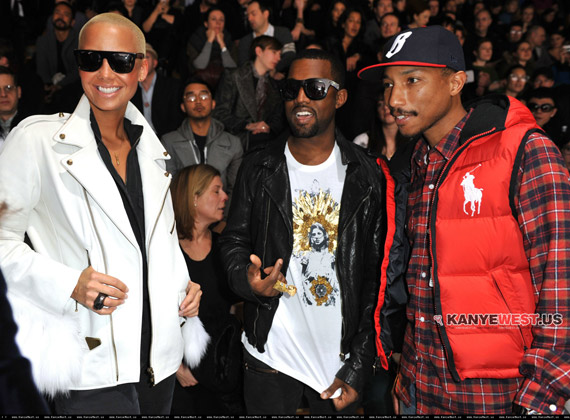 Kanye West, Amber Rose & Pharrell Williams @ Lanvin Men's ...