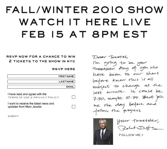 Marc Jacobs to Live Stream Fall 2010 Fashion Show