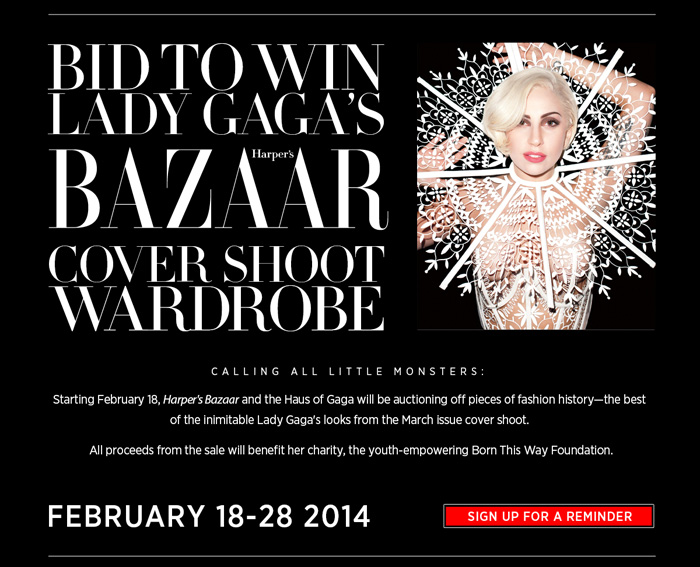 eBay x Harper's Bazaar Sells Pieces from Gaga's March Cover Shoot