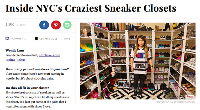 My Sneaker Closet featured on Refinery29